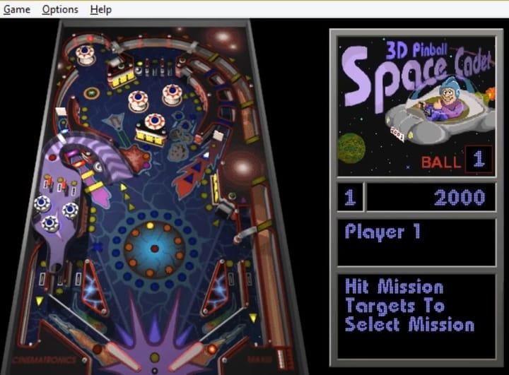 3D Pinball Space Cadet in Windows 10.