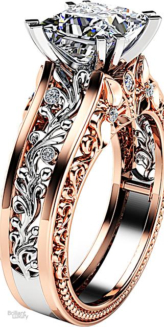 Brilliant Luxury♦Ayala Diamonds Solitaire Moissanite Engagement Ring 14K Rose Gold Moissanite Ring Swirl Design Engagement Ring