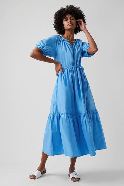 my midlife fashion, Great Plains crisp cotton tiered dress
