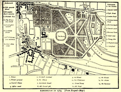Map of Kensington Gardens in 1764  from Old and New London by E Walford (1878)