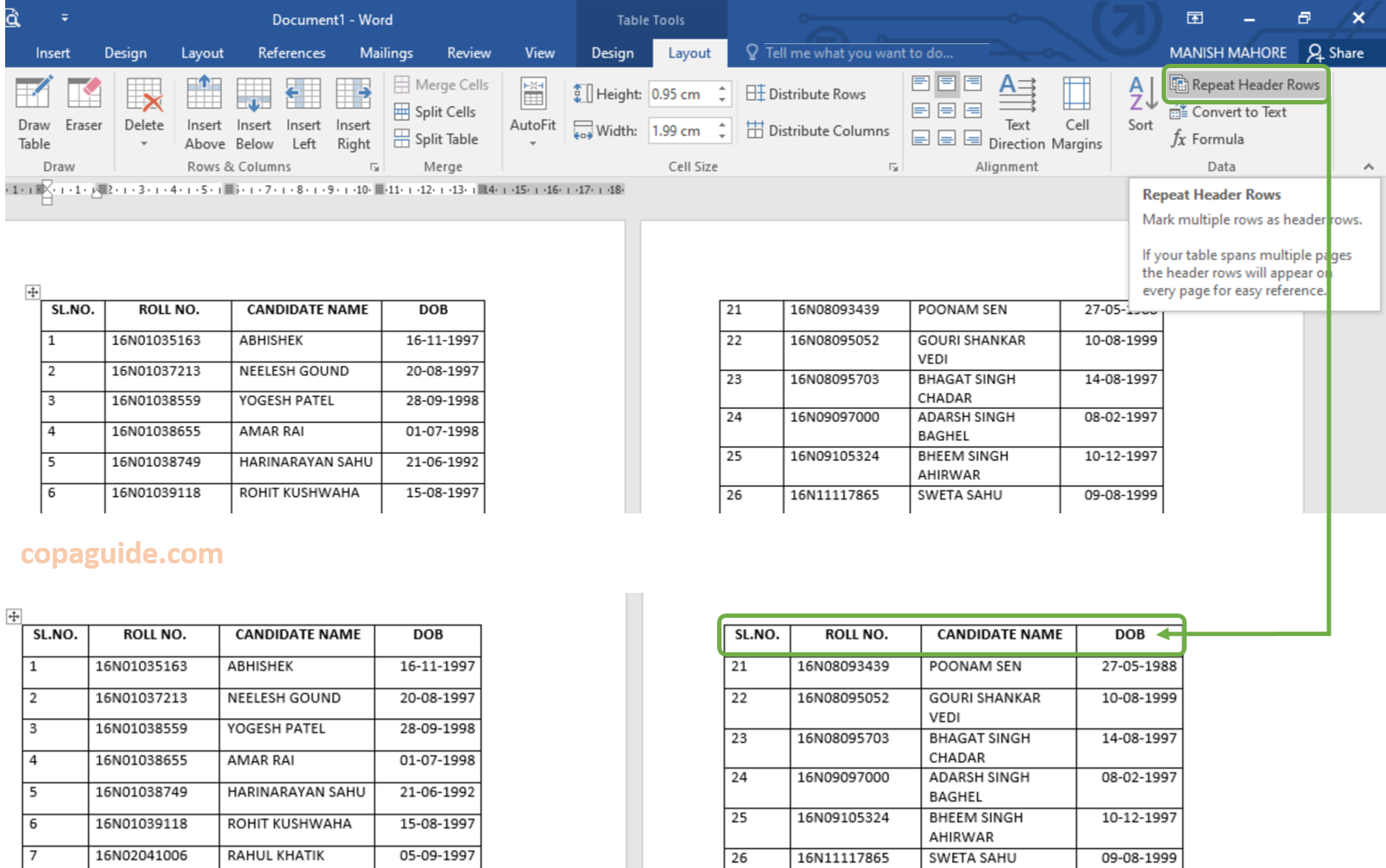 Table Tools Layout Tab in MS-Word