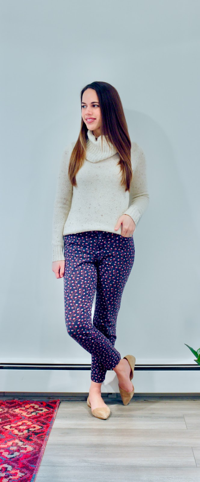 Jules in Flats - Marled Turtleneck Sweater with Patterned Pixie Pants (Business Casual Winter Workwear on a Budget)