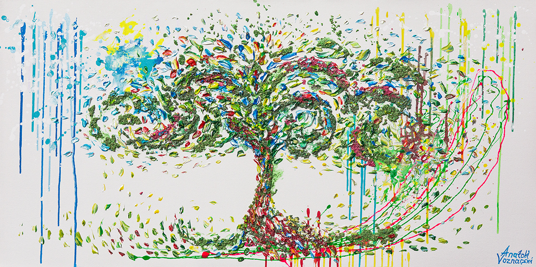 Tree of life,   tree of life painting, tree of life artwork, tree thick layers, tree textured, colorful tree, tree unique painting,tree dot, pointillism tree,  tree 3D acrylic