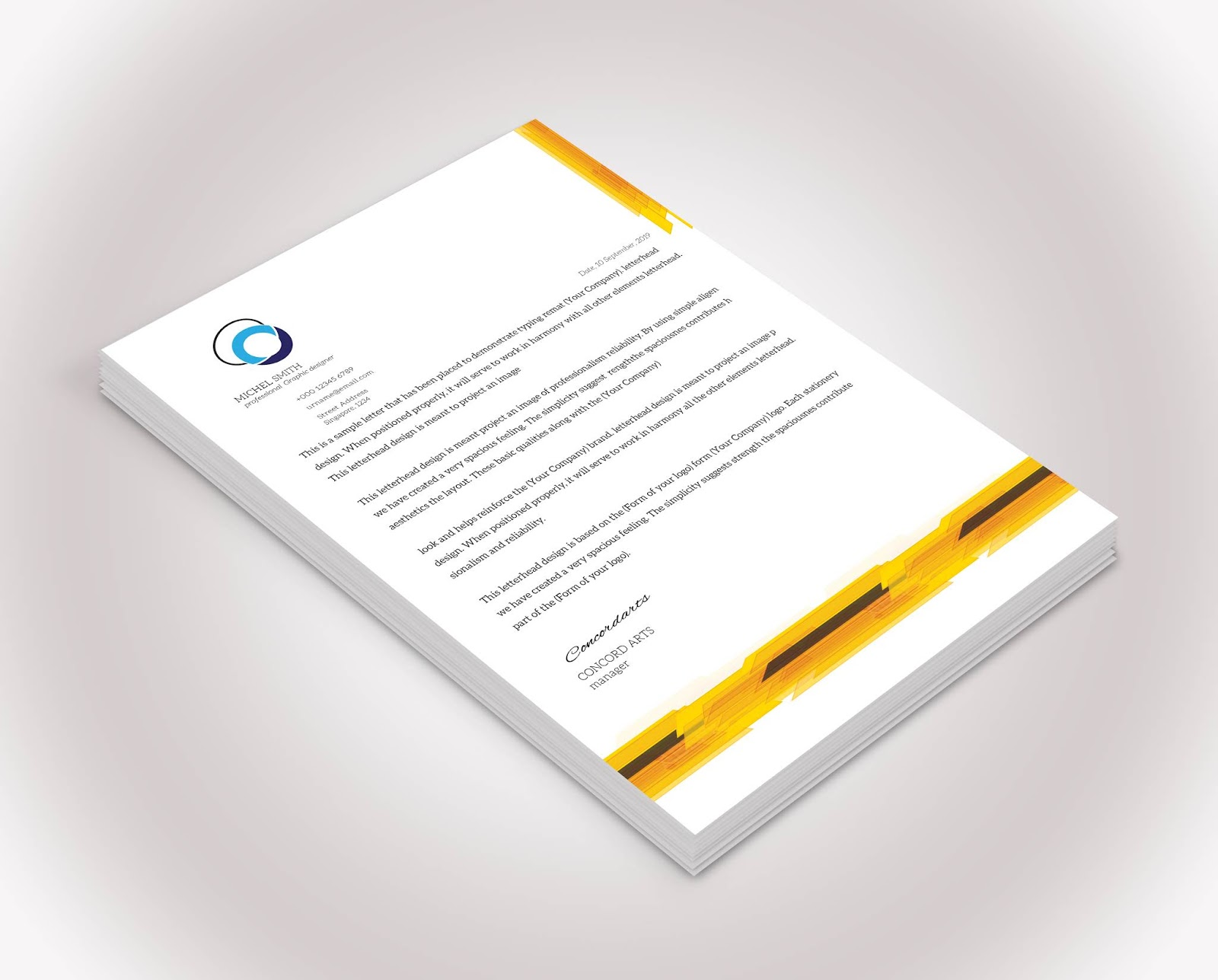 Free Download Professional Yellow Color Letterhead Vol 01 Professional Business Card Templates,Fashion Designer Business Card Ideas