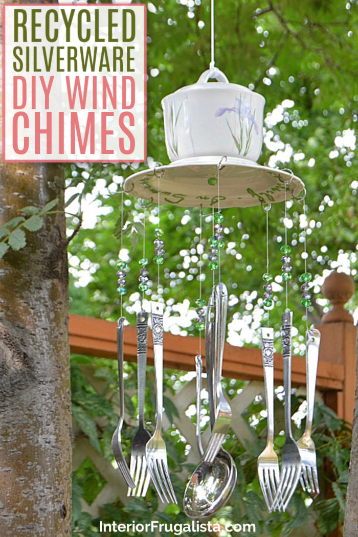 How to make budget-friendly DIY whimsical wind chimes with recycled thrift store flatware and a sugar bowl. A relaxing wind chime garden decor idea. #whimsicalwindchimes #diywindchimes #handmadewindchimes #silverwarewindchimes #flatwarewindchimes #sugarbowlwindchimes