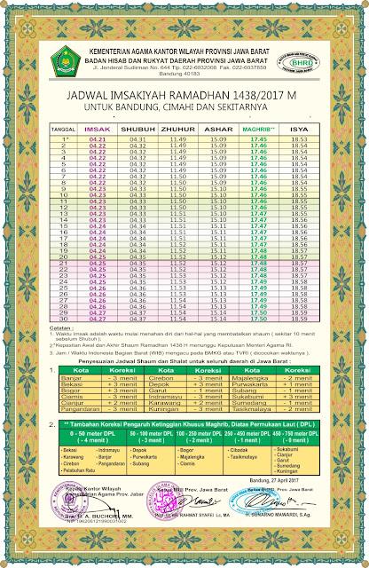 Jadwal Imsakiyah Puasa Ramadhan 1438 H / 2017 M