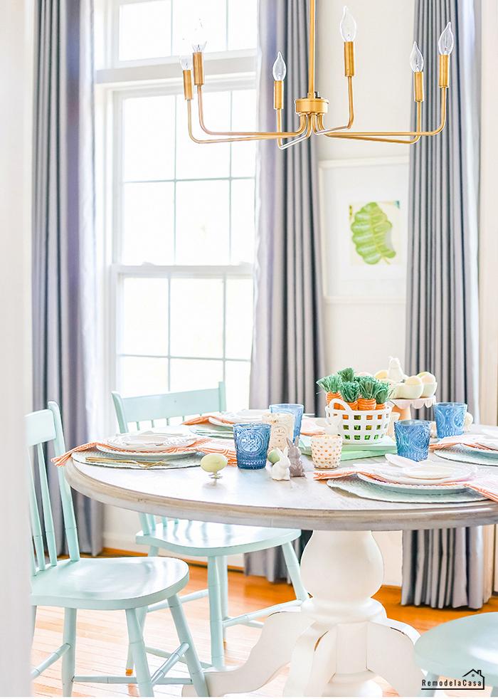 Aqua chairs - gold chandelier