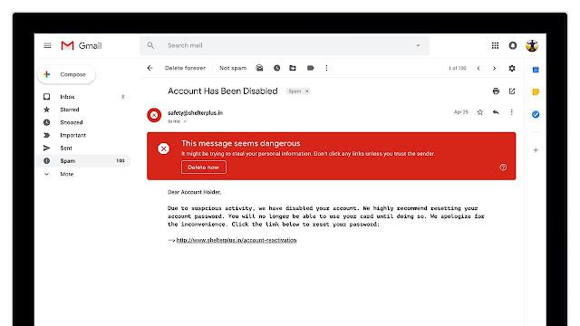 Screenshot einer Sicherheitswarnung in Gmail