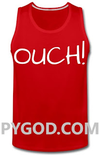 OUCH! red tank top as worn by Chad Thundercock. PYGOD.COM