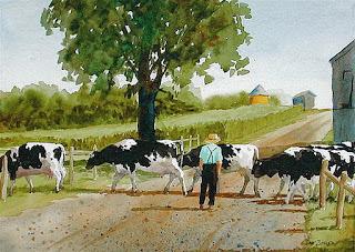 lienzos-de-panoramas-campesinos pinturas-acuarelas-vistas-rurales