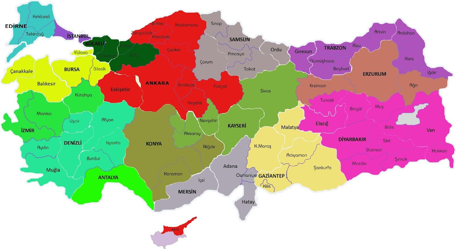Turquia Mapa Províncias