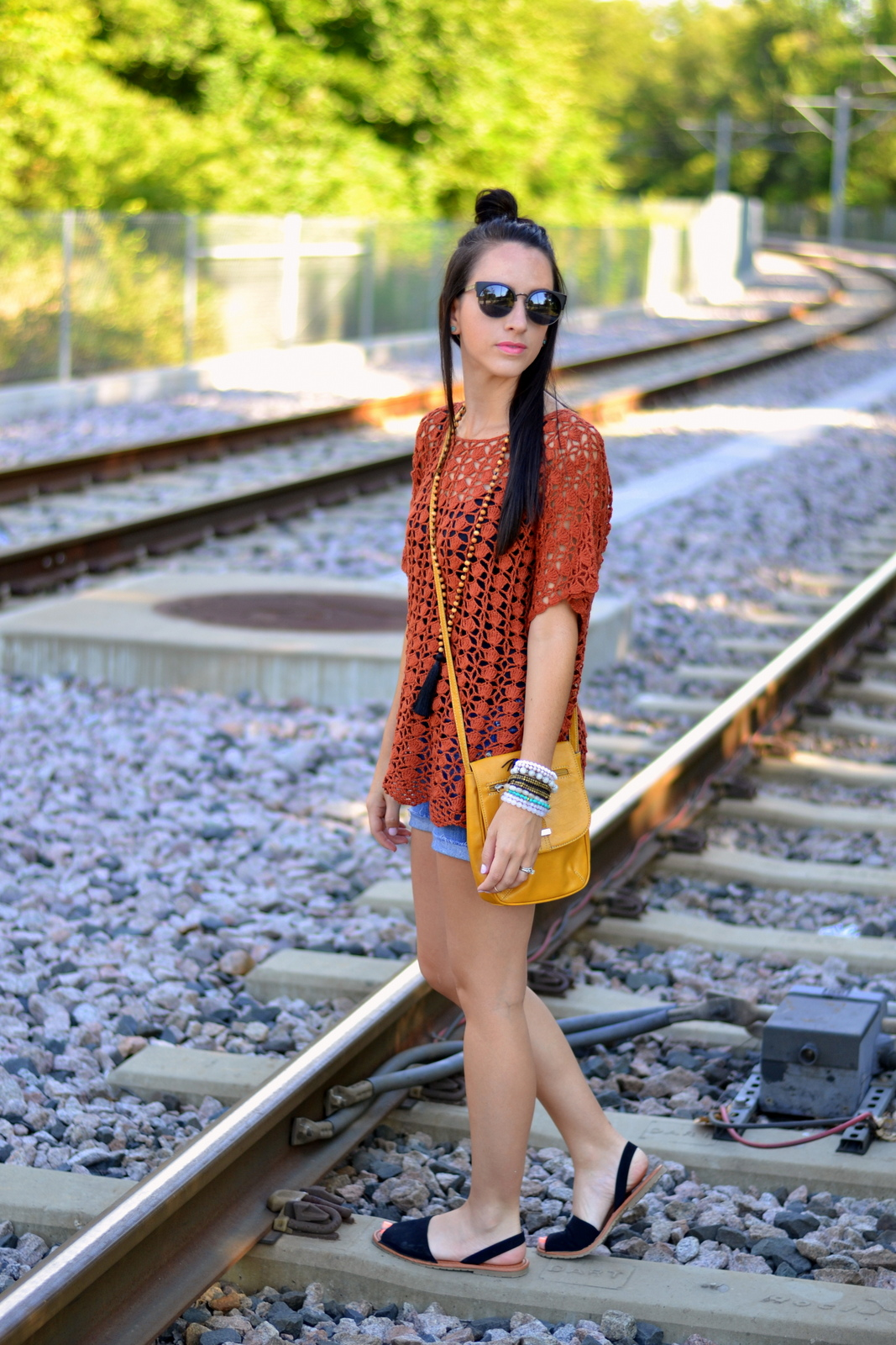 Casual Summer Boho Look with crochet top and Half Top Knot