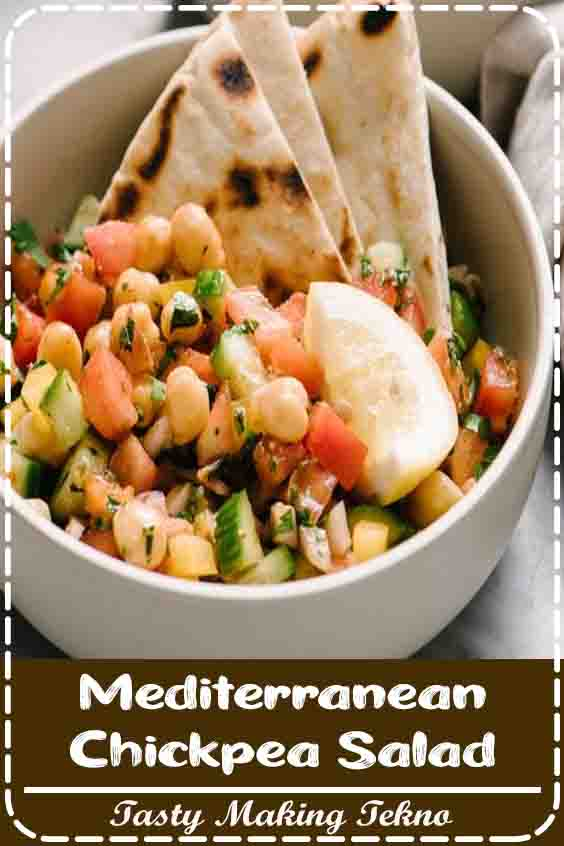 A quick, filling meal doesn't get any easier than this Mediterranean Chickpea Salad. This was inspired by one of our favorite side dishes, Israeli Salad. My version is beefed up with protein and fiber packed marinated chickpeas and served simply with grilled pita bread. It's an incredibly flexible and forgiving recipe, so it's perfect for everything from meal prep to a potluck salad or weeknight side dish.
