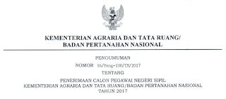 Penerimaan CPNS Tingkat D1 S1 Terbaru Kementerian Agraria dan Tata Ruang/BPN