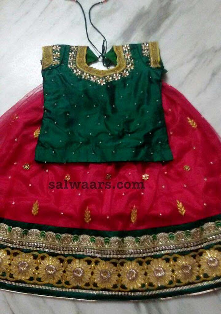 Red and Green Zardosi Lehenga
