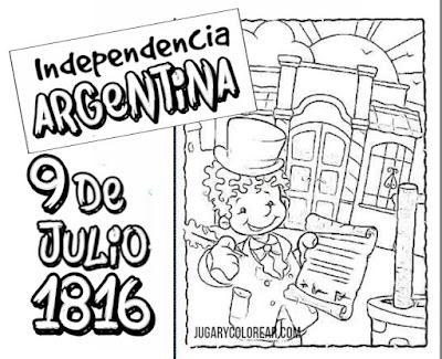 colorear dibujos independencia argentina