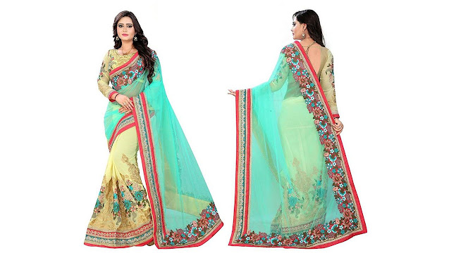 Dhanush Fashion Embroidered Fashion Georgette, Net Saree  (Yellow, Green)