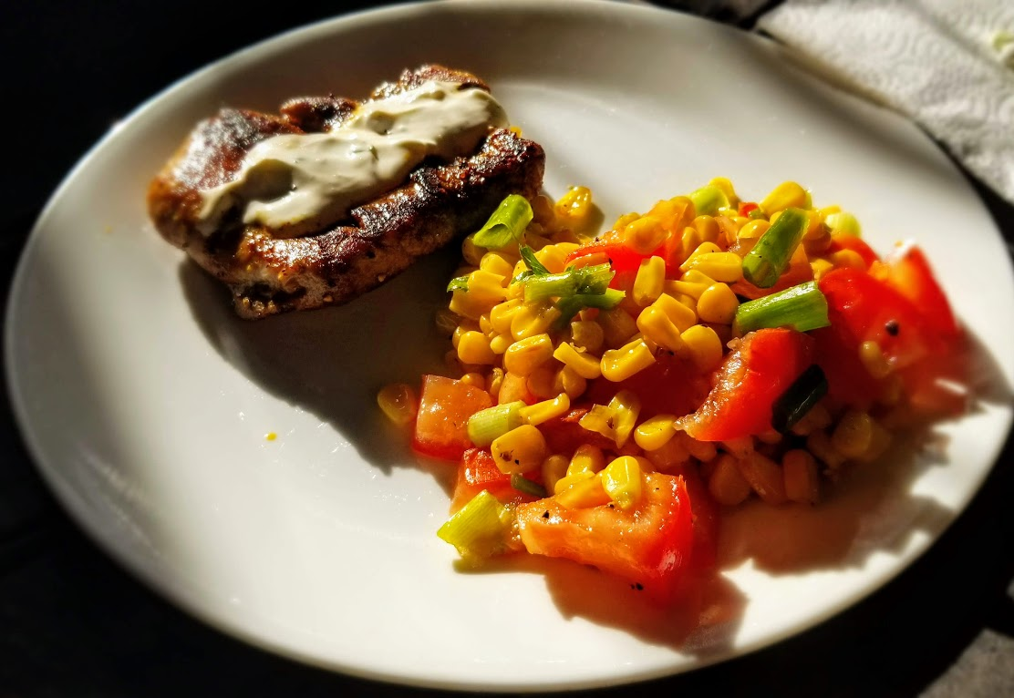 Chili-rubbed Pork Tenderloin and Corn Salad, from Marley Spoon