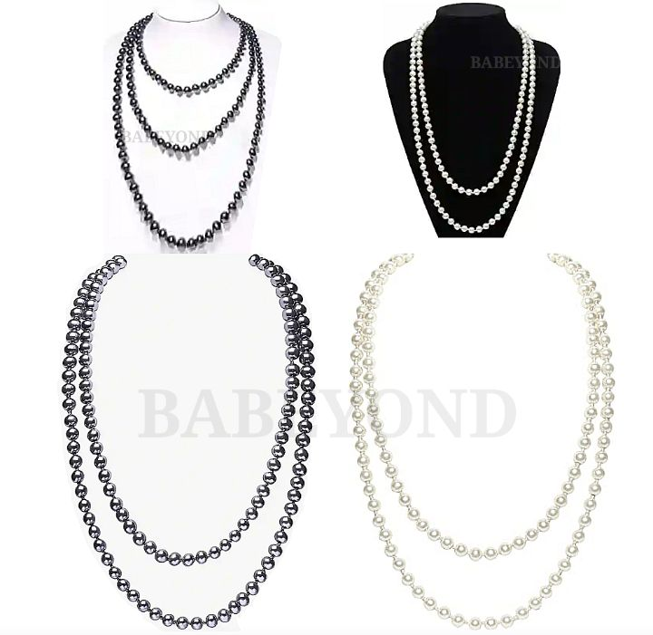 BABEYOND Beaded Necklaces: Women's 1920s Vintage Faux Pearl Necklace - Handmade Flappers Fashion-Jewelry Beads
