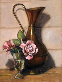 Oil painting of roses in a glass beside a large copper pitcher.