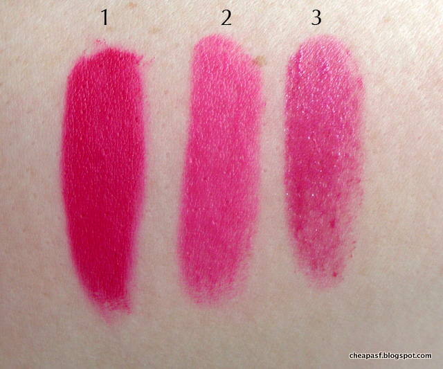 Swatches of 1. Urban Decay Vice Lipstick in Menace; 2. Wet N Wild Silk Finish Lipstick in Nouveau Pink, and 3. Revlon Balm Stain in Lovesick.