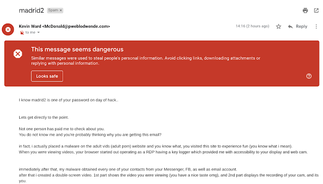 Screenshot of spam email
