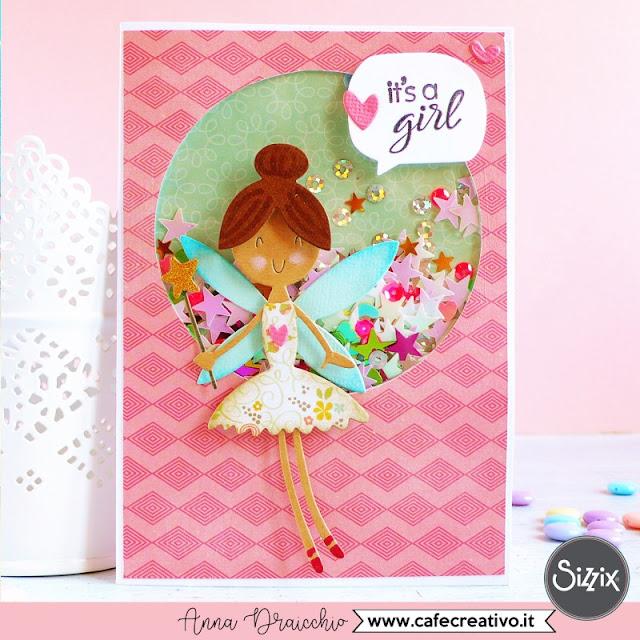 Shaker Card con fatina per una nascita