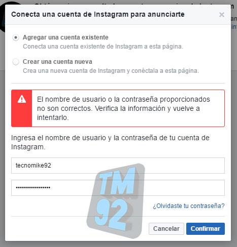error de conexion cuenta de facebook y instagram