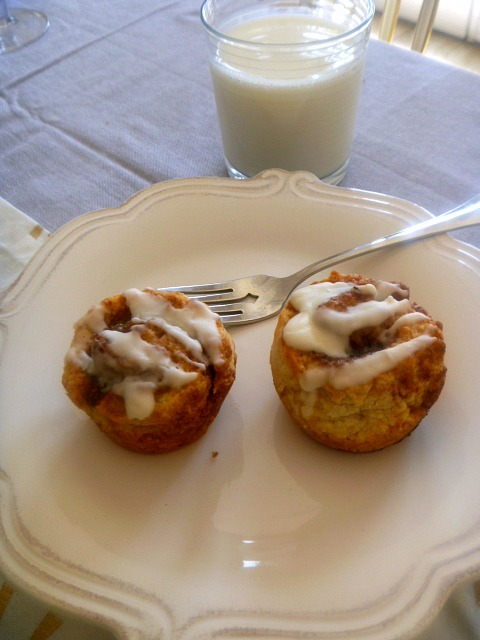 A small batch of piping hot cinnamon rolls bursting with all that cinnamony goodness and slathered with a sweet gooey icing is all you need for a sweet Valentine's Day breakfast!  - Slice of Southern