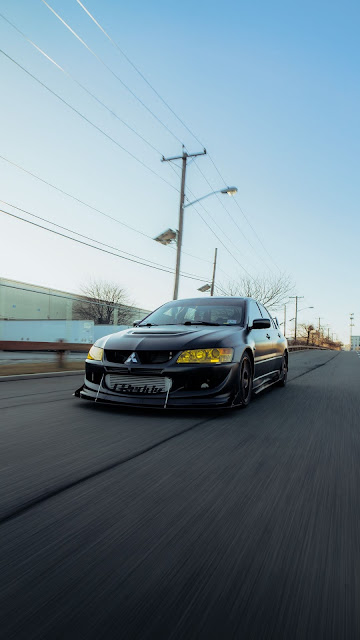 Mitsubishi HD wallpaper, sports car, black car, road, speed