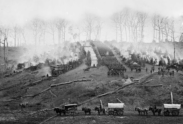 The 150th Pennsylvania Infantry camp on Belle Plain, Virginia, is pictured in March 1862, three weeks before the Battle of Chancellorsville.