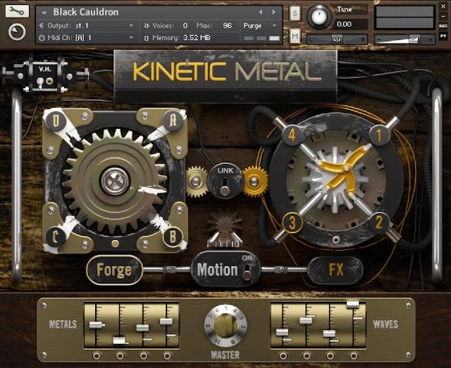 Interface da Kontakt Library Native Instruments - Kinetic Metal