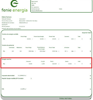 Factura de Fenie Energia con energia reactiva