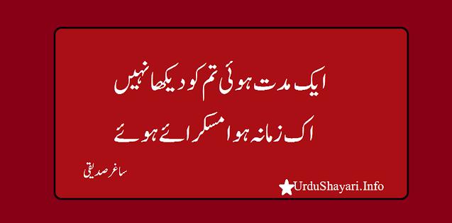 Aik Muddat Hui Tum Ko  Daikha Nahi 2 lines Sad Poetry - shayari in urdu image
