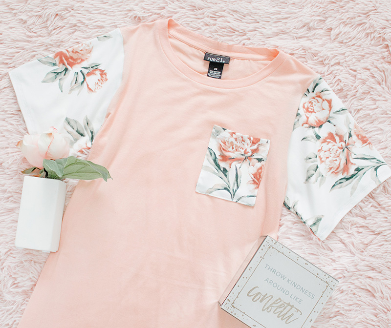 blush floral pocket tee modest refashion flatlay