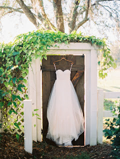 hanging wedding dress outdoors