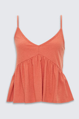 Shirred Flounce-Hem Top in tomato on a white background.