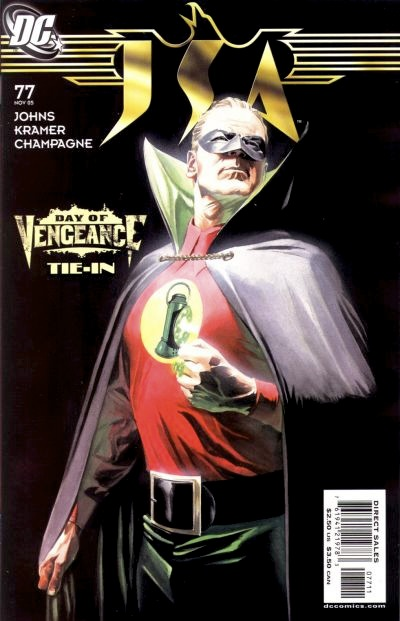 GL Alan Scott from the waist up, looking off in heroic pose, his power ring glowing on his left fist