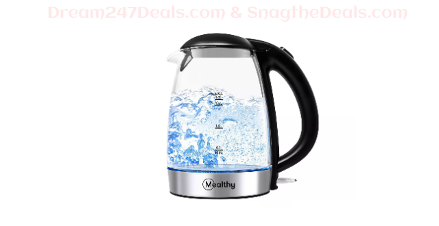 Mealthy High-Quality 1.7L Glass Electric Home Tea Boiler Kettle with LED Light