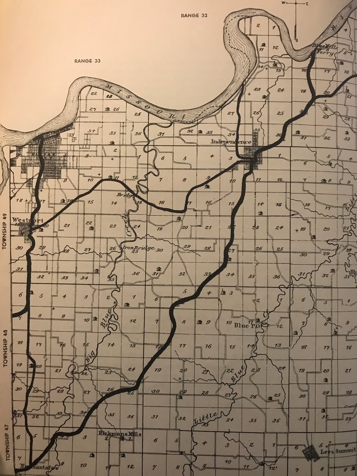 1877 map of jackson county with a hand drawn overlay of the santa fe trail routes drawn in 1951 by dean earl wood