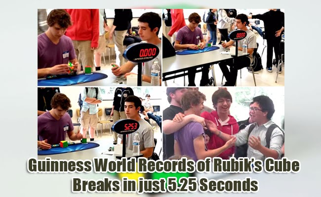 Guinness World Records of Rubik's Cube Breaks in just 5.25 Seconds by American Teenager