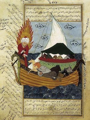 Nooa ja eläimet arkissa, norsuja ja hevosia