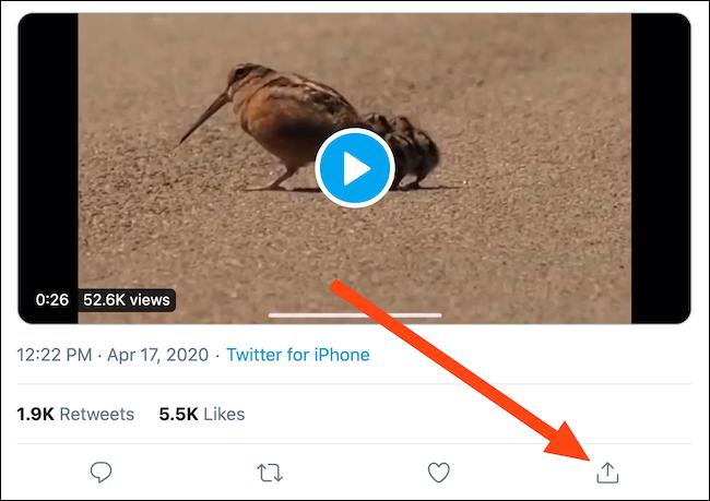 حدد موقع تغريدة مع مقطع فيديو ثم انقر فوق الزر مشاركة
