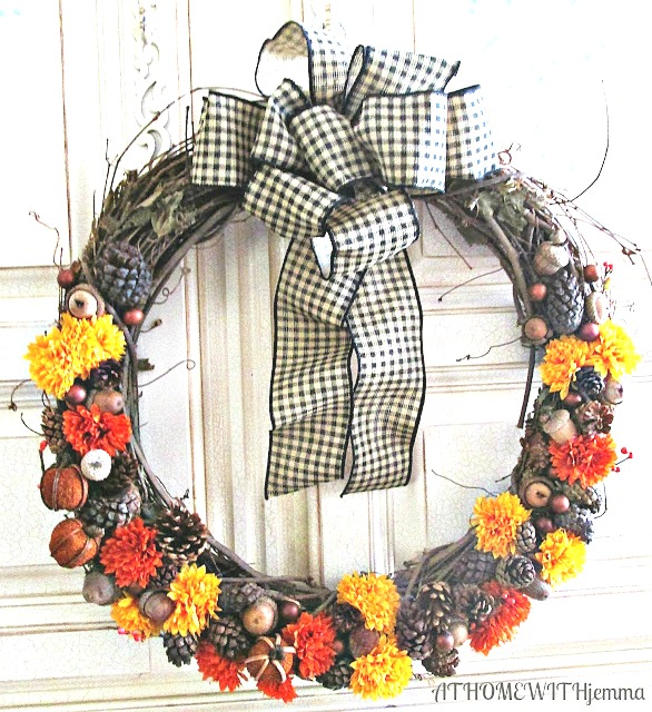 pine-cones-pumpkins-acorns-grapevine-wreath-black-gingham-bow