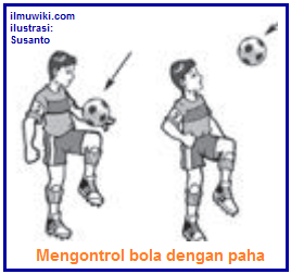 Gambar teknik dasar mengontrol bola dengan paha