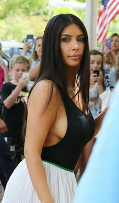 Kim Kardashian Showing Bared Huge Breast and Round Curvy Butt in Public
