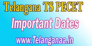 Telangana TS PECET Important Dates TSPECET 2017 Important Dates
