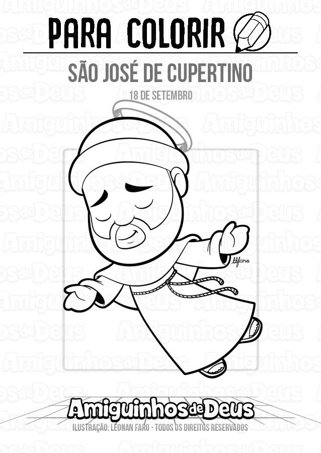 São José de Cupertino desenho para colorir