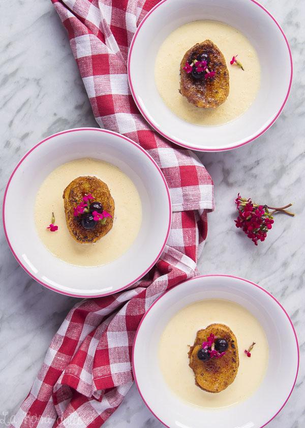 Torrijas caramelizadas con crema inglesa #sinlactosa