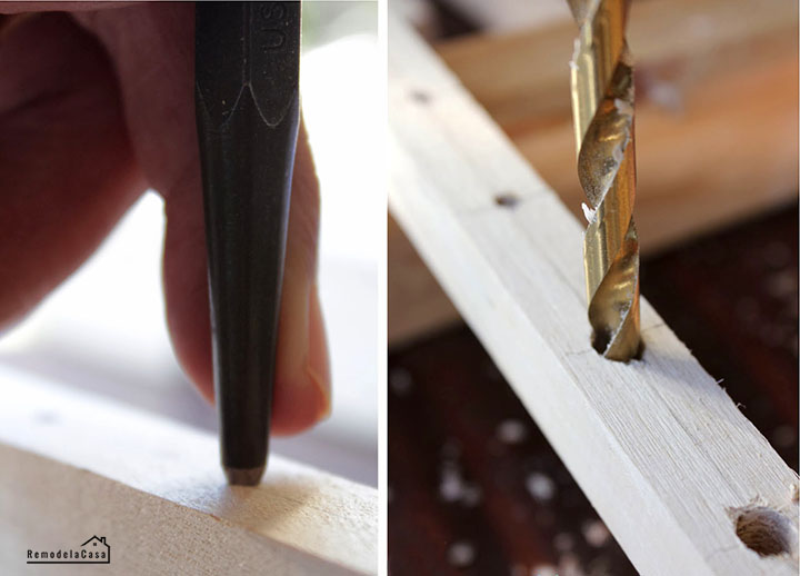 Using an awl tool and drill to make holes on dowels